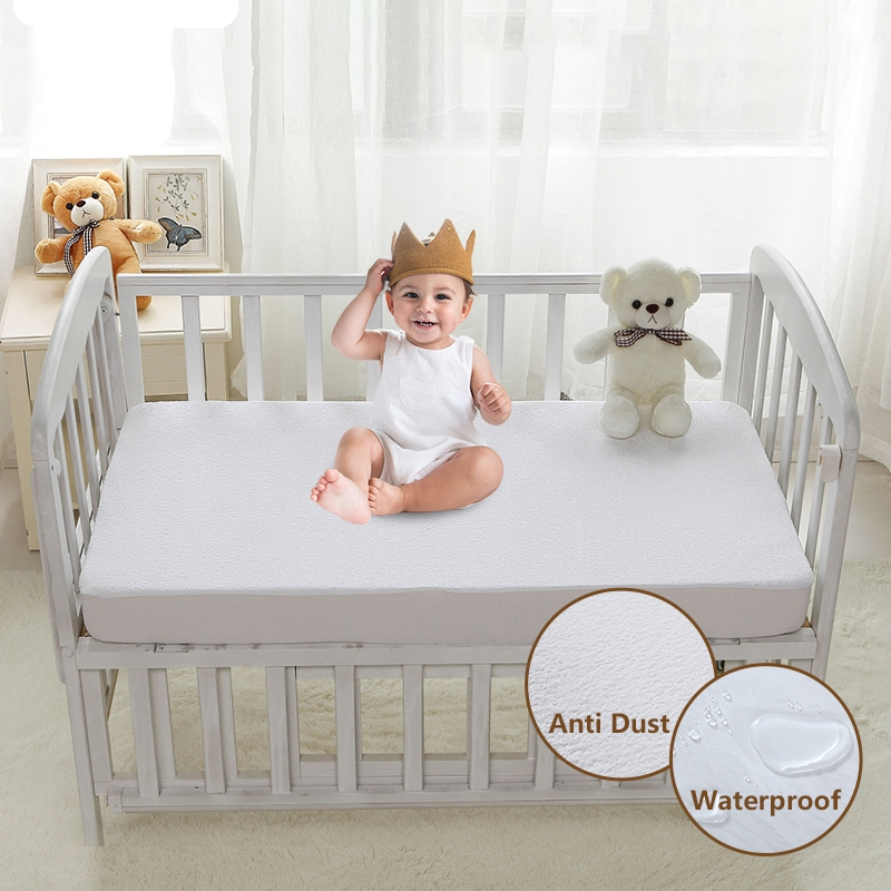 Mattress Cover Waterproof Terry Cloth Mattress Protector Cover For Children Anti Mite Dust 1 PC