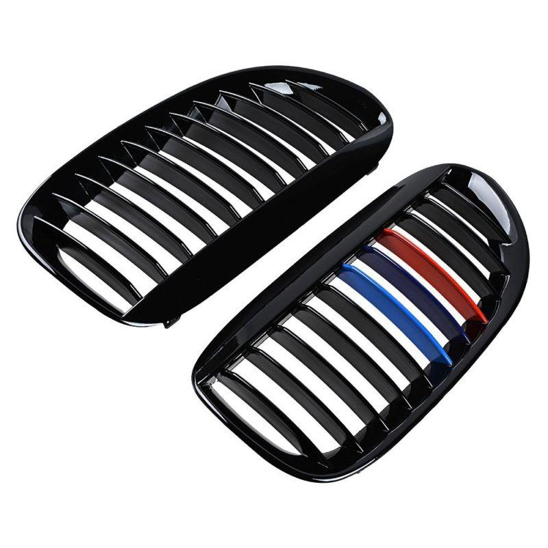 2pcs car front Grilles Gloss Black M Color Grille accessories parts For BMW E63 E64 650i 645Ci M6 04 10 Coupe Convertible