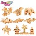 DANNIQITE Montessori Juguetes 50 unids Insertados Los Bloques De Madera de Haya Natural de regalo Juguetes Educativos