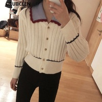 GRUIICEEN 2018 New Elegant Lady Knitted Cardigans Sweater Korean Style Casual Women Spring Cardigans Single Breasted Coat