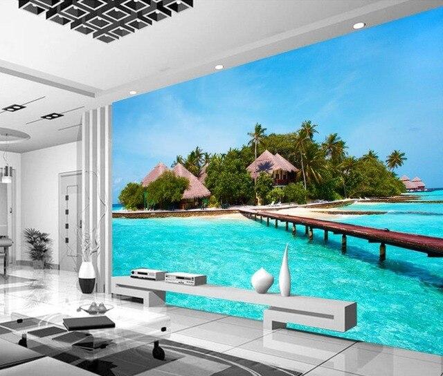 3d natura sfondi Maldive isola ponte Decorazione Della Casa sfondi ...