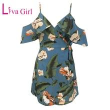 LIVA GIRL 2019 Bohemian Summer Floral Print Mini Dress Woman Sexy Spaghetti Strap V Neck Bandage Dresses Loose Boho Beach