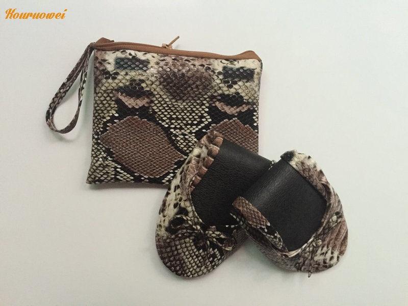 Partido Piel Del Zapatos De Mujeres Desechable Género Serpiente Con El Después Bolso Bailarina La CEYnqw0Fwx
