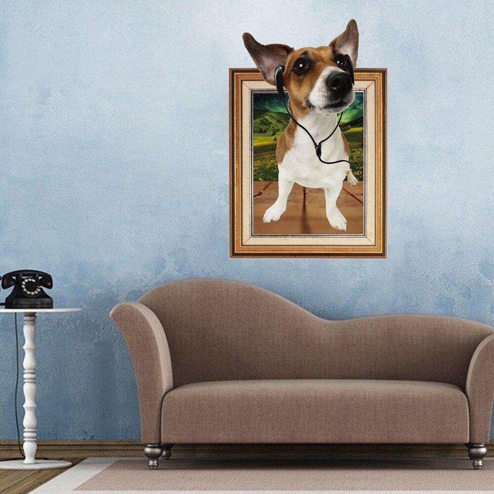 Creative Cartoon 3D Dog Frame Large Wall Stickers font b Home b font Decor Living Room