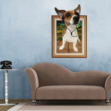 Creative Cartoon 3D Dog Frame Large Wall Stickers Home Decor Living Room Bedroom 60cm*90cm