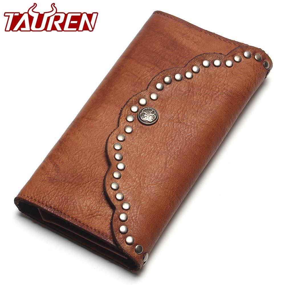 купить TAUREN Brush Color Clutch Anchor Nail Genuine Leather Women Wallets Purse Long Design High Capacity Cell Phone Pocket Coin Purse онлайн