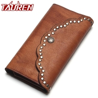 TAUREN Brush Color Clutch Anchor Nail Genuine Leather Women Wallets Purse Long Design High Capacity Cell Phone Pocket Coin Purse
