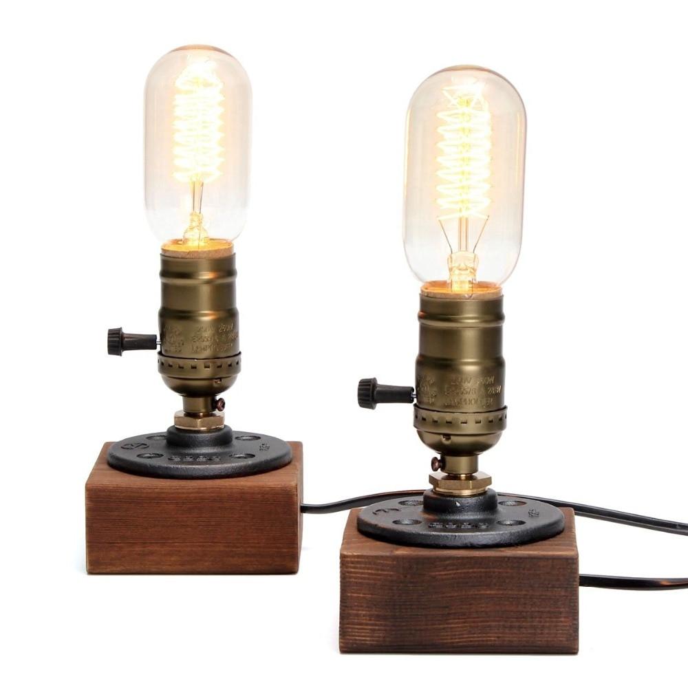 Wooden table lamp vintage desk lamp 3 plug dimmer 40w for Light bulb table lamp