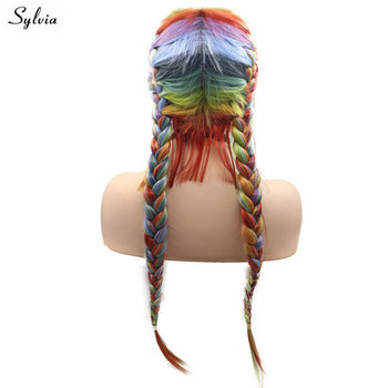 Sylvia 2x Twist Braids Wig mermaid Lace Front Wig For Ladies Party Synthetic Glueless New Hairstyle High Temperature Fiber Wig