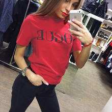 Womens Casual Summer Tops letter Short sleeve Basic Tee Shirt femme harajuku tumblr vogue Blouse Ladies brand arrival blusas(China)