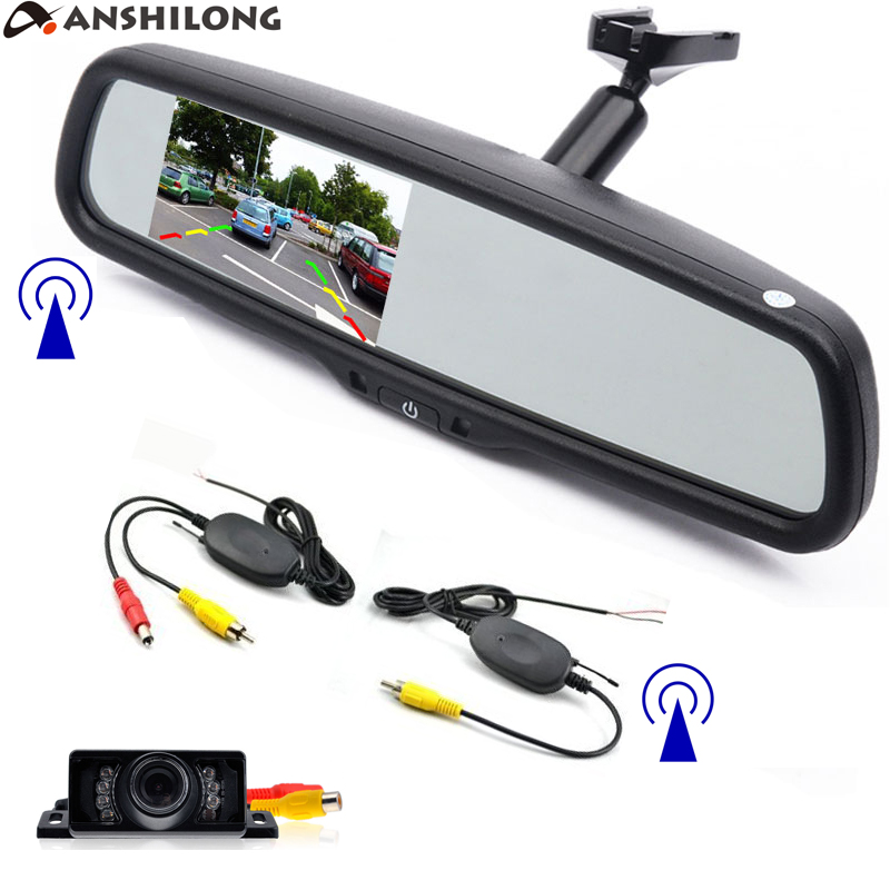 ANSHILONG Wireless Car Rear View Kit 4.3inch LCD Mirror Monitor +HD Infrared Reverse Backup Parking Night Vision Camera+ Bracket anshilong car rear view parking system kit with auto dimming mirror 4 3 800 480 monitor and night vision waterproof camera