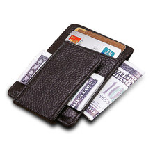 Men money clips genuine leather Magnet Clip Ultrathin Pocket Clamp card ID Case Mini Creative Wallet(China)