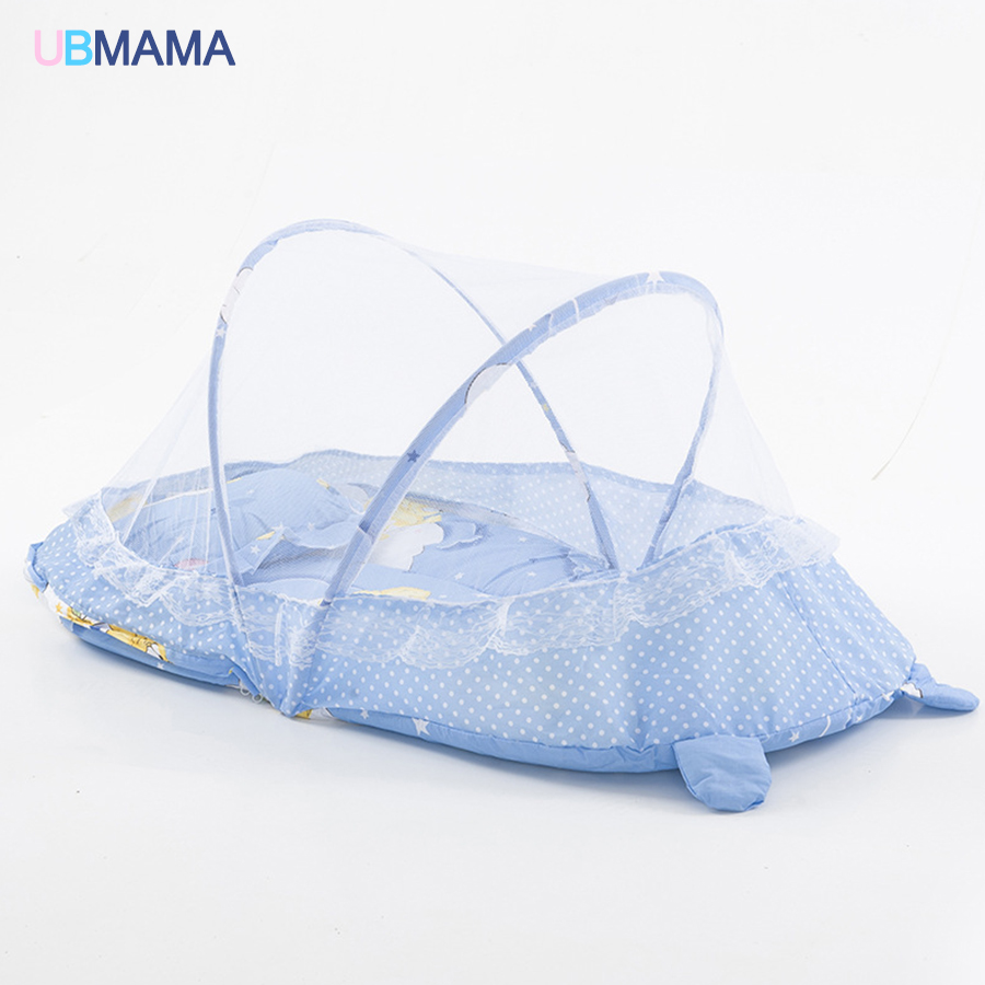 High-quality Mosquito Control Red Blue Baby Bed With Mosquito Net Portable Baby Bed Game Cotton Folding Bed 110*65*60CM