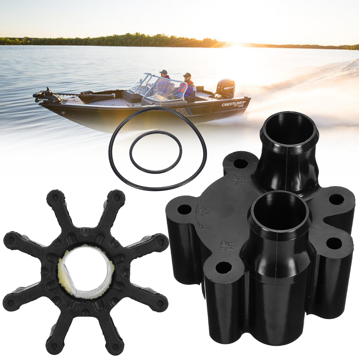 for MerCruiser for Bravo 46-807151A14 18-3150 Marine Water Pump Impeller Repair Kit Rubber + Metal 67mm Diameter 8 Blades