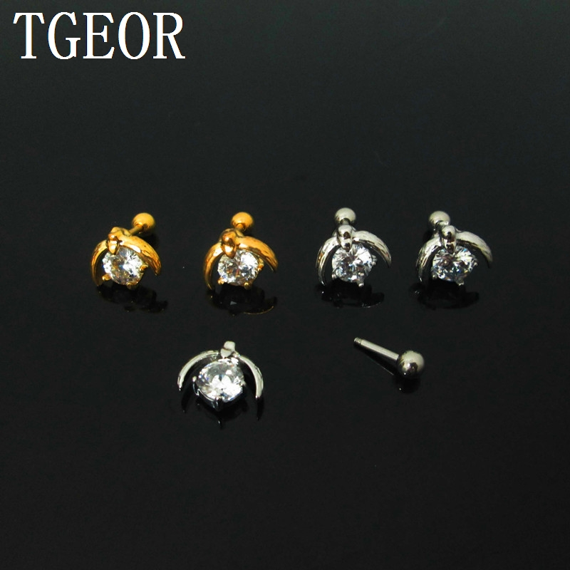 New 1 pair 6mm Zircon mixed colors Penguin claw cubic Zircon tragus piercing earring Fashion