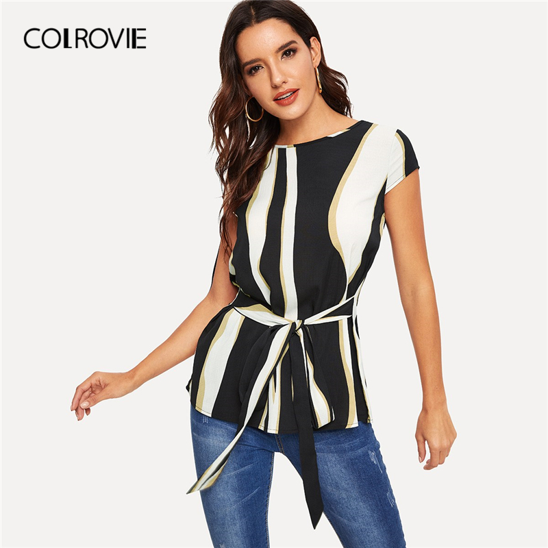 COLROVIE Black And White Colorblock Belted Casual   Blouse     Shirts   Women 2019 Summer Cap Sleeve Button Back Office Ladies Tops