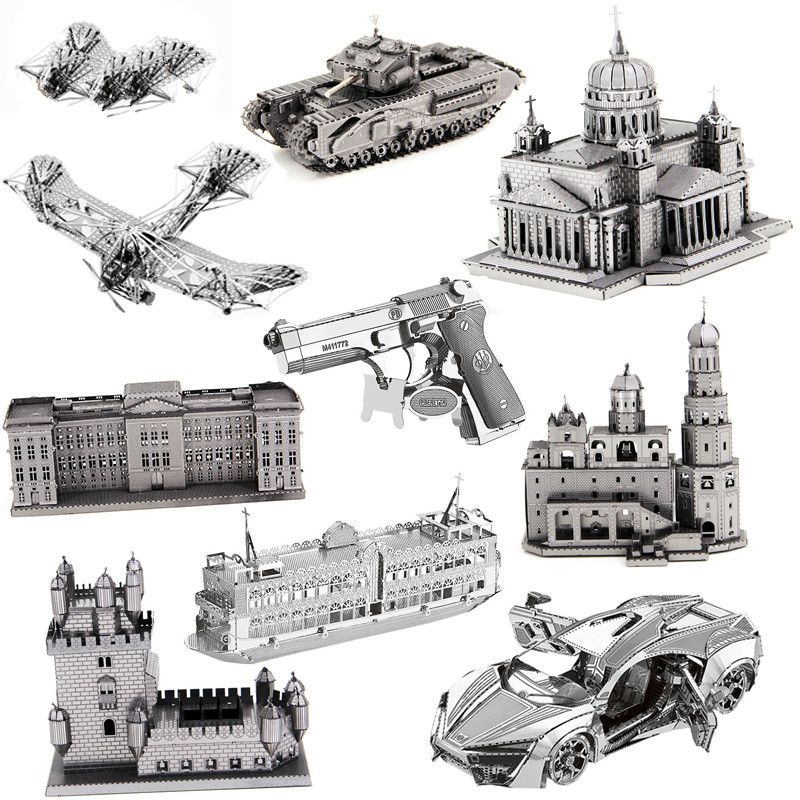 3D Metal Puzzle Model For Adult Children Stainless Steel Intellectual Development Collec ...