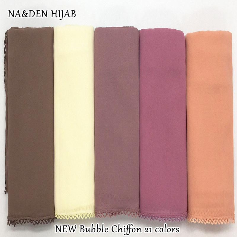 NEW Bubble Chiffon hijab embroidery edges Women plain scarf/scarves fashion hijabs soft echarpe wraps muffler hot sale scarves