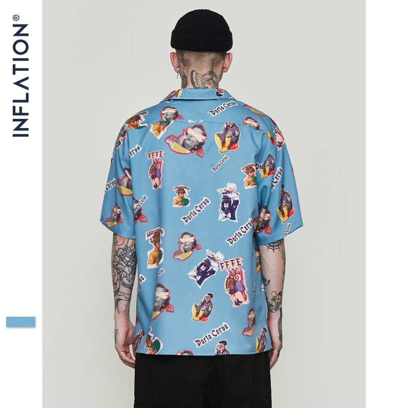 INFLATION Herren Hawaiian Shirt Männlichen Casual Lustige Gedruckt Strand Shirts Kurzarm Sommer 2020 Lose Fit Männer Kleidung 9220S