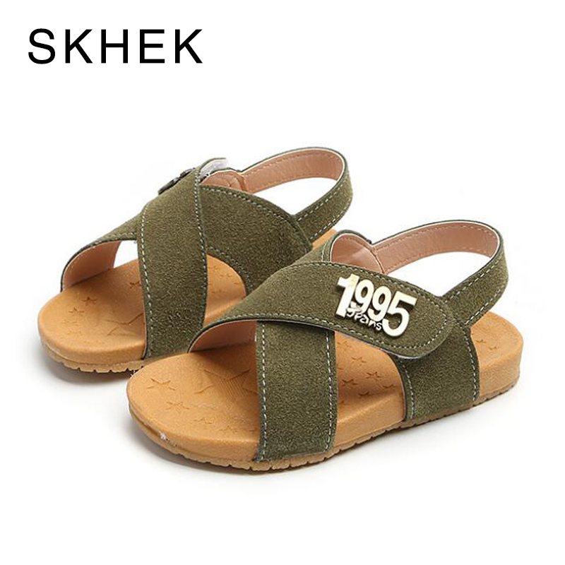 SKHEK 2018 Summer Beach Boy Sandals Kids Leather Shoes Fashion Sport Sandal Children Sandals For Boys PU Leather Casual Shoes