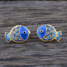 Mythic Age Real 925 Sterling Silver Chinoiserie Blue Cloisonne Enamel Fish Vintage Stud Earrings Jewelry Gift for Women(China)