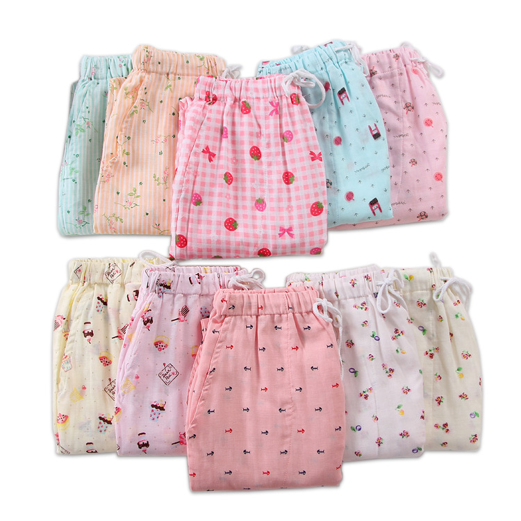 Hot Sale Summer 100% Gauze Cotton Home Pants Women Sleep Bottoms Fresh Casual Pajamas Pants Women Sleepwear Trousers