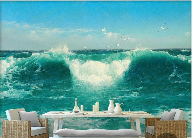 personnalis 3d papier peint bleu ciel blanc nuages vert mer d 39 eau vagues houleuses vue sur la. Black Bedroom Furniture Sets. Home Design Ideas
