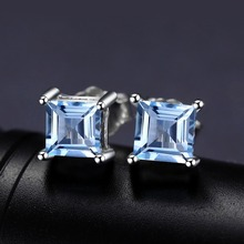Natural Sky Blue Topaz 925 Solid Sterling Silver Fashion Women Dazzling Princess Cut Stud Earrings For Women