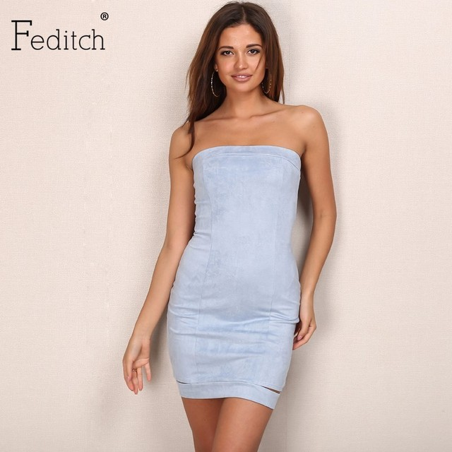 Feditch 2017 New Sexy Strapless Suede Mini Dress Women Elegant Party Dresses  Fashion Lady Solid Color Outfits Hot Sale Vestidos d115ff2cd7b0