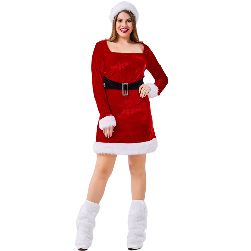 Velvet Red Christmas Dress Costumes Suit Cosplay For Woman Christmas Party Cosplay Plus Size