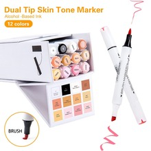 Bianyo Dual Tip Art Marker Pen Soft & Broad Tip 12 Colors Marker Set for Drawing Water Color Markers Pen Painting for artist