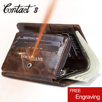 Contact's Genuine Leather Wallet Men Brand Design Coin Purse For Male Credit Card Holder Slim Trifold Wallets Vintage Clutch Bag