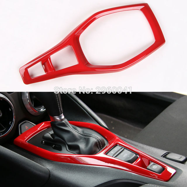 Newest Red Gears Panel Trim Shift Cover interior Parts Chromium Styling ABS For Chevrolet Camaro 2017