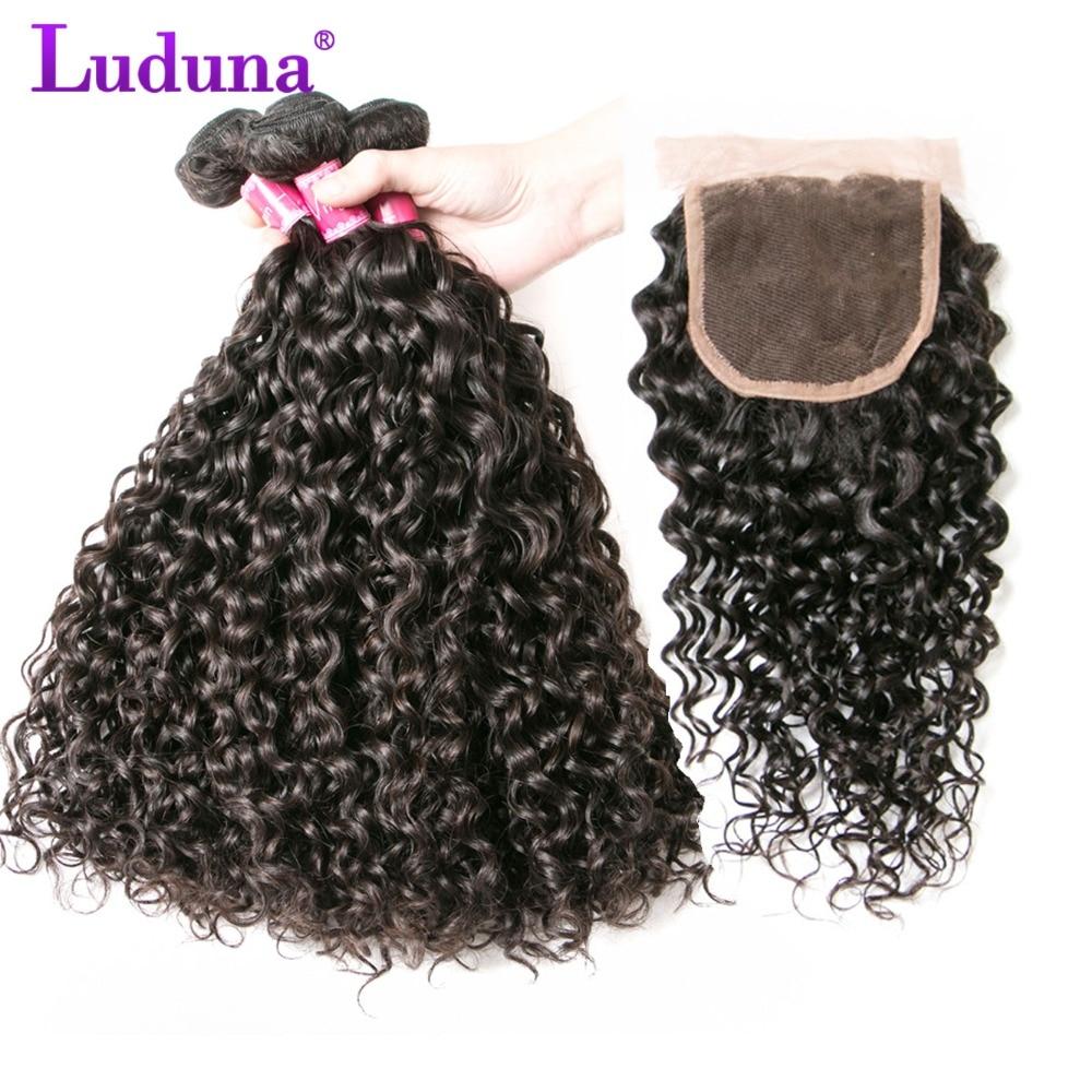 Luduna Воды Волна перуанской пучки волос с закрытием 3 Связки человеческих волос пучки с ...