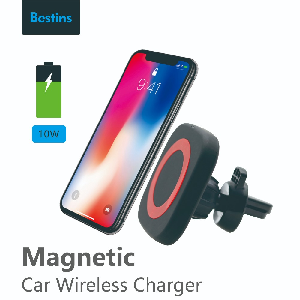 Bestins Car Mount Qi Wireless Charger For Samsung Galaxy S9 Note 9 Wireless Charging Car Phone Holder Stand For iPhone 7 8 XR XS