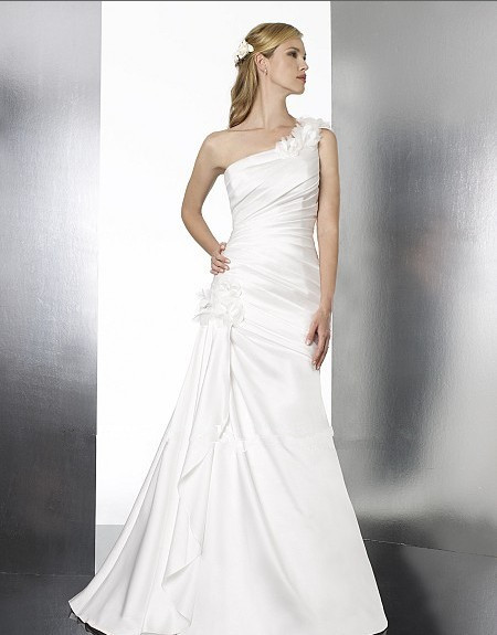 free shipping 2018 new satin features figure enhancing pleating one shoulder floral detailing bridal gown   bridesmaid     dresses