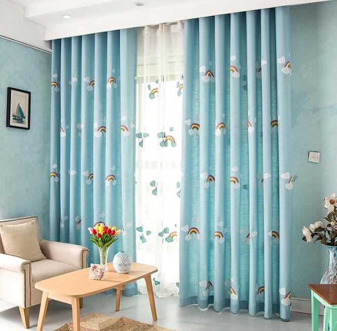 Free Shipping! Blue Lovely Rainbow Cortinas,Home Decor