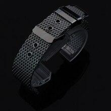 18 mm 20 mm 22 mm 24 mm nuevos Mens de la alta calidad en acero inoxidable SHARK mesh pulsera hebilla de correa de reemplazo de cuarzo del wristband
