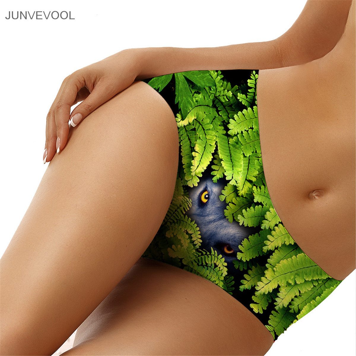 Crotchless Ultra-thin Comfort Underwear Eyes on The Leaves Print Seamless Panties for Wo ...