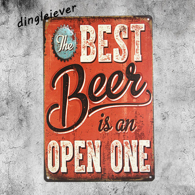 Best Beer Is On Open One Vintage Metal Sign Antique Tray Bar Wall Decor Garage Signs