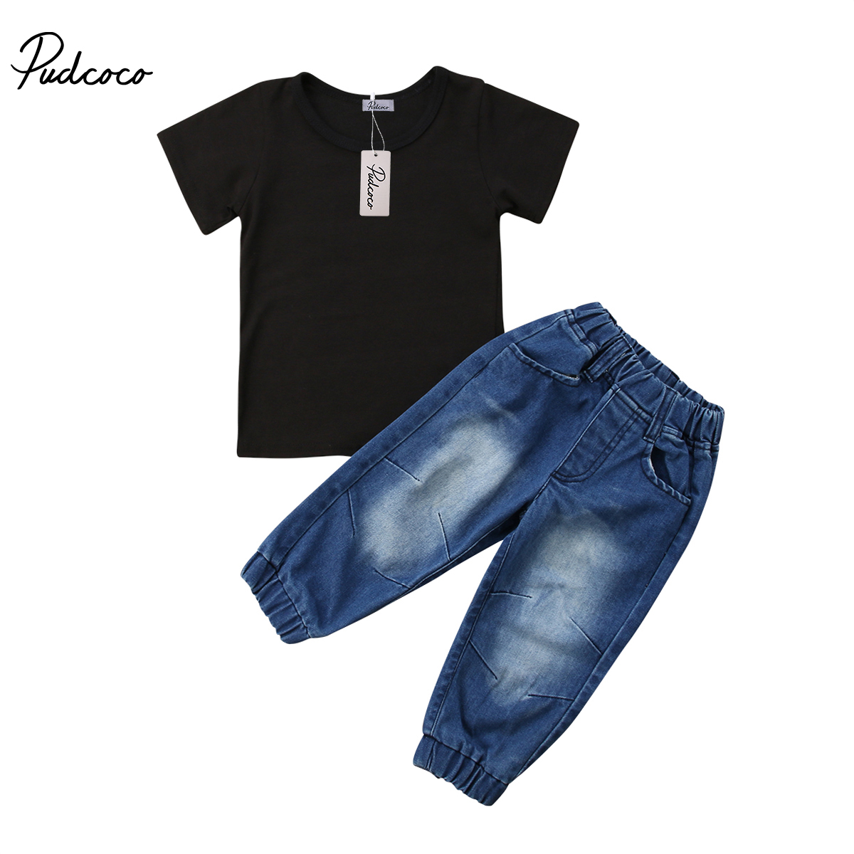 Pudcoco Newborn Kids Baby Boys Clothes Cotton Short Sleeve O-Neck T-shirt Denim Pants Leggings Jeans Outfits 1-6 Years Helen115