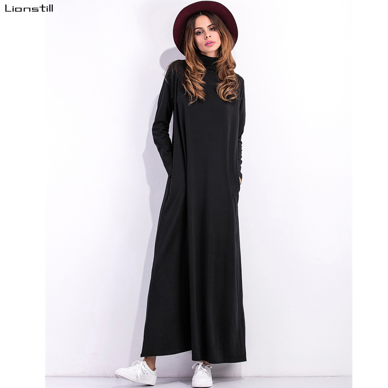 Modal Flojo Vestido Negro Largo Mujeres Vestidos Plus Size