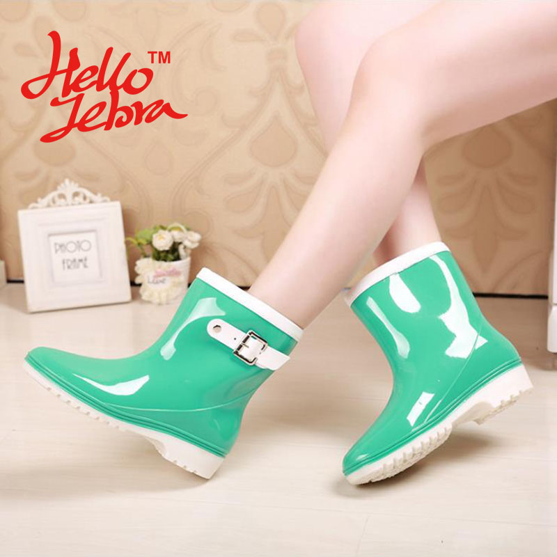 Women Rain Boots with Buckle Ladies Low Hoof Heels Mid Calf Slip On Soft Waterproof Round Toe Rainboots 2016 New Fashion Design stylish women s mid calf boots with solid color and fringe design