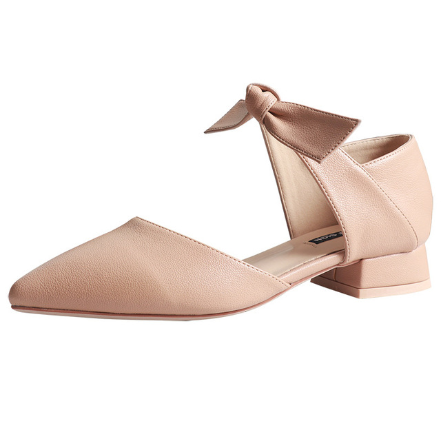 ankle leather bow-knot shoes woman low heel cut out pumps 2