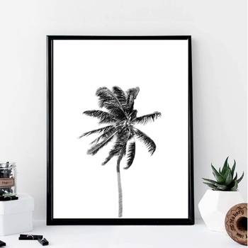 Palmera lienzo arte pintura y póster, CUADRO DE ARTE costero pintado en lienzo con palmeras blancas y negras