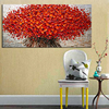 Heavy Textured Palette Knife Oil Paintings On Canvas Hand Painted Modern Abstract 3D Red Flowers Wall Decorative Pictures Art 3