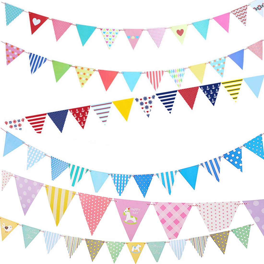 Sale 1pc DIY Paper Flags Garland Floral Bunting Banners Kids Birthday Wedding Party Decoration Supplies Childs Room Banner