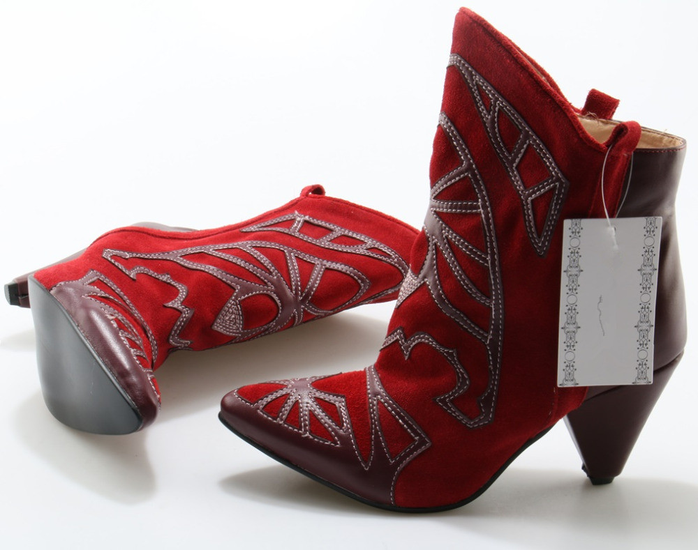 Automne as As Zapatos Bottes Ethnique Pour Cheville Talons Mujer Pointu Noir Hiver Rouge Femmes Bout Picture Haut Chaussures Picture Cowboy Chaussons Spike 2019 q6qH1
