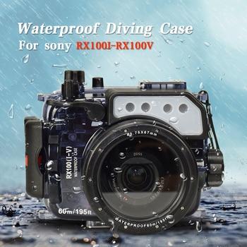 195FT/60M Waterproof Underwater Housing Camera Diving Case for Sony RX100/RX100 II/RX100 III/RX100 IV/RX100 V Bag Cover фото
