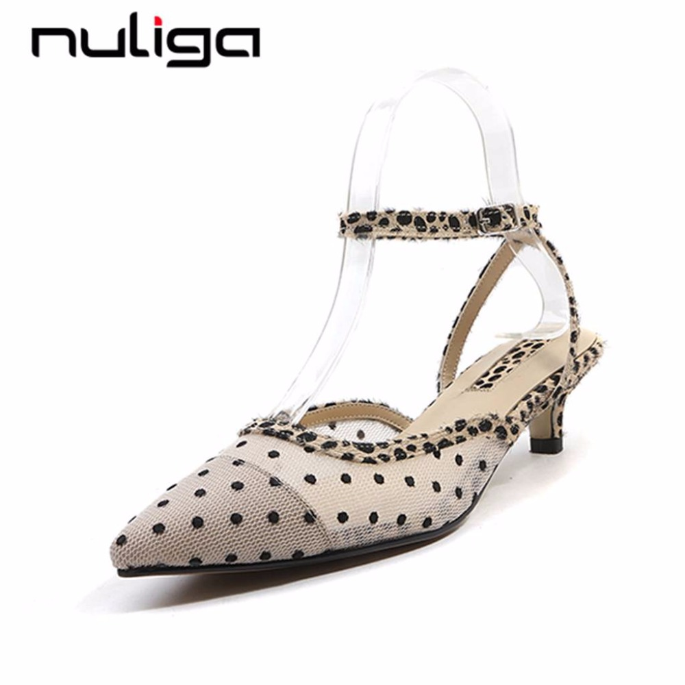 Nuliga new arrival pointed toe buckle strap med thin heels polka dot princess style plus size woman genuine leather pumps L62